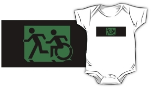 Accessible Exit Sign Project Wheelchair Wheelie Running Man Symbol Means of Egress Icon Disability Emergency Evacuation Fire Safety Kids T-shirt 56