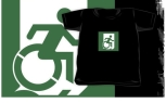 Accessible Exit Sign Project Wheelchair Wheelie Running Man Symbol Means of Egress Icon Disability Emergency Evacuation Fire Safety Kids T-shirt 57