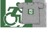 Accessible Exit Sign Project Wheelchair Wheelie Running Man Symbol Means of Egress Icon Disability Emergency Evacuation Fire Safety Kids T-shirt 58