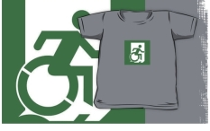 Accessible Exit Sign Project Wheelchair Wheelie Running Man Symbol Means of Egress Icon Disability Emergency Evacuation Fire Safety Kids T-shirt 59