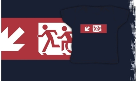 Accessible Exit Sign Project Wheelchair Wheelie Running Man Symbol Means of Egress Icon Disability Emergency Evacuation Fire Safety Kids T-shirt 6