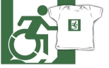 Accessible Exit Sign Project Wheelchair Wheelie Running Man Symbol Means of Egress Icon Disability Emergency Evacuation Fire Safety Kids T-shirt 62