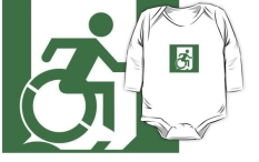 Accessible Exit Sign Project Wheelchair Wheelie Running Man Symbol Means of Egress Icon Disability Emergency Evacuation Fire Safety Kids T-shirt 63