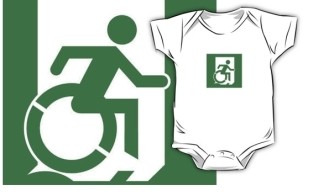 Accessible Exit Sign Project Wheelchair Wheelie Running Man Symbol Means of Egress Icon Disability Emergency Evacuation Fire Safety Kids T-shirt 64
