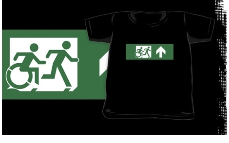 Accessible Exit Sign Project Wheelchair Wheelie Running Man Symbol Means of Egress Icon Disability Emergency Evacuation Fire Safety Kids T-shirt 66