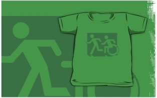 Accessible Exit Sign Project Wheelchair Wheelie Running Man Symbol Means of Egress Icon Disability Emergency Evacuation Fire Safety Kids T-shirt 67