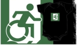Accessible Exit Sign Project Wheelchair Wheelie Running Man Symbol Means of Egress Icon Disability Emergency Evacuation Fire Safety Kids T-shirt 68