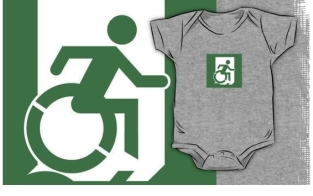 Accessible Exit Sign Project Wheelchair Wheelie Running Man Symbol Means of Egress Icon Disability Emergency Evacuation Fire Safety Kids T-shirt 69