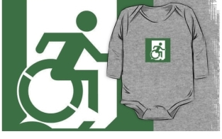 Accessible Exit Sign Project Wheelchair Wheelie Running Man Symbol Means of Egress Icon Disability Emergency Evacuation Fire Safety Kids T-shirt 70