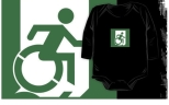 Accessible Exit Sign Project Wheelchair Wheelie Running Man Symbol Means of Egress Icon Disability Emergency Evacuation Fire Safety Kids T-shirt 71