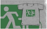 Accessible Exit Sign Project Wheelchair Wheelie Running Man Symbol Means of Egress Icon Disability Emergency Evacuation Fire Safety Kids T-shirt 74