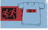Accessible Exit Sign Project Wheelchair Wheelie Running Man Symbol Means of Egress Icon Disability Emergency Evacuation Fire Safety Kids T-shirt 76