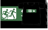 Accessible Exit Sign Project Wheelchair Wheelie Running Man Symbol Means of Egress Icon Disability Emergency Evacuation Fire Safety Kids T-shirt 78
