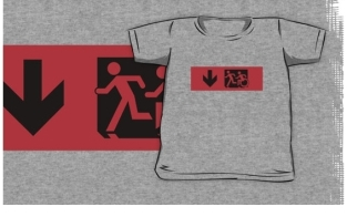 Accessible Exit Sign Project Wheelchair Wheelie Running Man Symbol Means of Egress Icon Disability Emergency Evacuation Fire Safety Kids T-shirt 8