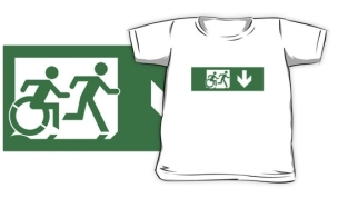 Accessible Exit Sign Project Wheelchair Wheelie Running Man Symbol Means of Egress Icon Disability Emergency Evacuation Fire Safety Kids T-shirt 81