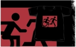 Accessible Exit Sign Project Wheelchair Wheelie Running Man Symbol Means of Egress Icon Disability Emergency Evacuation Fire Safety Kids T-shirt 82