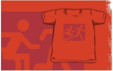 Accessible Exit Sign Project Wheelchair Wheelie Running Man Symbol Means of Egress Icon Disability Emergency Evacuation Fire Safety Kids T-shirt 85