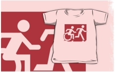 Accessible Exit Sign Project Wheelchair Wheelie Running Man Symbol Means of Egress Icon Disability Emergency Evacuation Fire Safety Kids T-shirt 88
