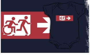 Accessible Exit Sign Project Wheelchair Wheelie Running Man Symbol Means of Egress Icon Disability Emergency Evacuation Fire Safety Kids T-shirt 90