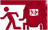 Accessible Exit Sign Project Wheelchair Wheelie Running Man Symbol Means of Egress Icon Disability Emergency Evacuation Fire Safety Kids T-shirt 91