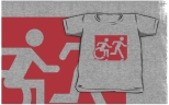 Accessible Exit Sign Project Wheelchair Wheelie Running Man Symbol Means of Egress Icon Disability Emergency Evacuation Fire Safety Kids T-shirt 94