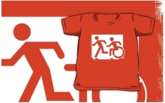 Accessible Exit Sign Project Wheelchair Wheelie Running Man Symbol Means of Egress Icon Disability Emergency Evacuation Fire Safety Kids T-shirt 97