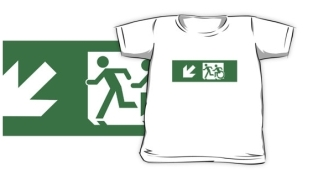 Accessible Exit Sign Project Wheelchair Wheelie Running Man Symbol Means of Egress Icon Disability Emergency Evacuation Fire Safety Kids T-shirt 99