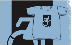 Accessible Exit Sign Project Wheelchair Wheelie Running Man Symbol Means of Egress Icon Disability Emergency Evacuation Fire Safety Kids T-shirts 1