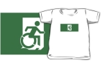 Accessible Exit Sign Project Wheelchair Wheelie Running Man Symbol Means of Egress Icon Disability Emergency Evacuation Fire Safety Kids T-shirts 106
