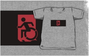 Accessible Exit Sign Project Wheelchair Wheelie Running Man Symbol Means of Egress Icon Disability Emergency Evacuation Fire Safety Kids T-shirts 108