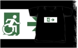 Accessible Exit Sign Project Wheelchair Wheelie Running Man Symbol Means of Egress Icon Disability Emergency Evacuation Fire Safety Kids T-shirts 110