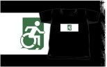 Accessible Exit Sign Project Wheelchair Wheelie Running Man Symbol Means of Egress Icon Disability Emergency Evacuation Fire Safety Kids T-shirts 114