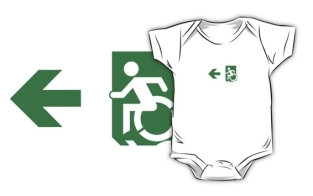 Accessible Exit Sign Project Wheelchair Wheelie Running Man Symbol Means of Egress Icon Disability Emergency Evacuation Fire Safety Kids T-shirts 116