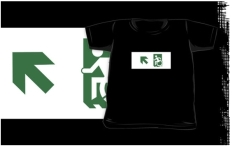 Accessible Exit Sign Project Wheelchair Wheelie Running Man Symbol Means of Egress Icon Disability Emergency Evacuation Fire Safety Kids T-shirts 117