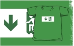 Accessible Exit Sign Project Wheelchair Wheelie Running Man Symbol Means of Egress Icon Disability Emergency Evacuation Fire Safety Kids T-shirts 122