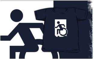 Accessible Exit Sign Project Wheelchair Wheelie Running Man Symbol Means of Egress Icon Disability Emergency Evacuation Fire Safety Kids T-shirts 135