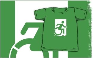Accessible Exit Sign Project Wheelchair Wheelie Running Man Symbol Means of Egress Icon Disability Emergency Evacuation Fire Safety Kids T-shirts 137