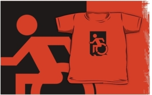 Accessible Exit Sign Project Wheelchair Wheelie Running Man Symbol Means of Egress Icon Disability Emergency Evacuation Fire Safety Kids T-shirts 139