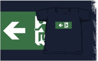 Accessible Exit Sign Project Wheelchair Wheelie Running Man Symbol Means of Egress Icon Disability Emergency Evacuation Fire Safety Kids T-shirts 140