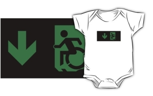Accessible Exit Sign Project Wheelchair Wheelie Running Man Symbol Means of Egress Icon Disability Emergency Evacuation Fire Safety Kids T-shirts 145