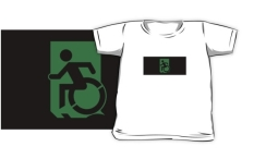 Accessible Exit Sign Project Wheelchair Wheelie Running Man Symbol Means of Egress Icon Disability Emergency Evacuation Fire Safety Kids T-shirts 146