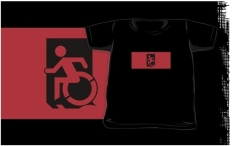Accessible Exit Sign Project Wheelchair Wheelie Running Man Symbol Means of Egress Icon Disability Emergency Evacuation Fire Safety Kids T-shirts 15