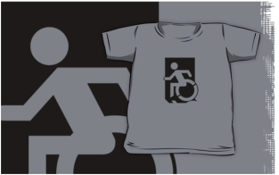 Accessible Exit Sign Project Wheelchair Wheelie Running Man Symbol Means of Egress Icon Disability Emergency Evacuation Fire Safety Kids T-shirts 152