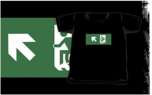 Accessible Exit Sign Project Wheelchair Wheelie Running Man Symbol Means of Egress Icon Disability Emergency Evacuation Fire Safety Kids T-shirts 153