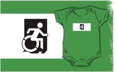 Accessible Exit Sign Project Wheelchair Wheelie Running Man Symbol Means of Egress Icon Disability Emergency Evacuation Fire Safety Kids T-shirts 155