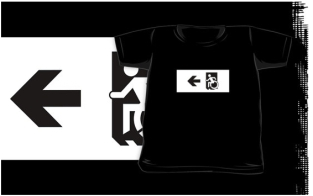 Accessible Exit Sign Project Wheelchair Wheelie Running Man Symbol Means of Egress Icon Disability Emergency Evacuation Fire Safety Kids T-shirts 157