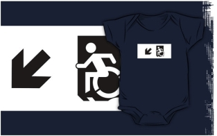 Accessible Exit Sign Project Wheelchair Wheelie Running Man Symbol Means of Egress Icon Disability Emergency Evacuation Fire Safety Kids T-shirts 159