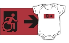 Accessible Exit Sign Project Wheelchair Wheelie Running Man Symbol Means of Egress Icon Disability Emergency Evacuation Fire Safety Kids T-shirts 163