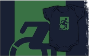 Accessible Exit Sign Project Wheelchair Wheelie Running Man Symbol Means of Egress Icon Disability Emergency Evacuation Fire Safety Kids T-shirts 165