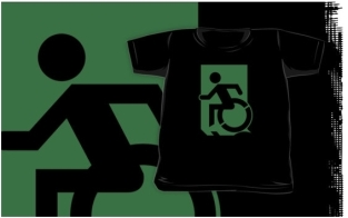 Accessible Exit Sign Project Wheelchair Wheelie Running Man Symbol Means of Egress Icon Disability Emergency Evacuation Fire Safety Kids T-shirts 169